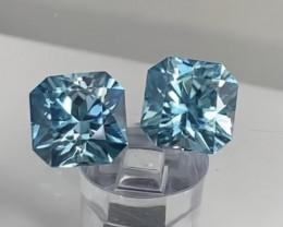 Pretty Flanders Cut Blue Zircon Pair - Cambodia 4318