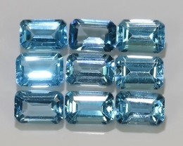 6.60 CTS AWESOME NICE AQUA COLOR TOPAZ 6X4 BRAZIL 9 PCS PARCEL