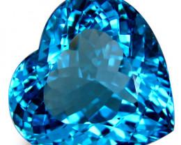 6.72Cts Sparkling Natural  Swiss Blue Topaz Heart Shape Loose Gem VIDEO