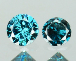 0.06 Cts Natural Electric Blue Diamond 2Pcs Round Africa