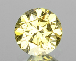 0.07 Cts Natural Untreated Diamond Fancy Yellow 2.5mm Round Cut Africa