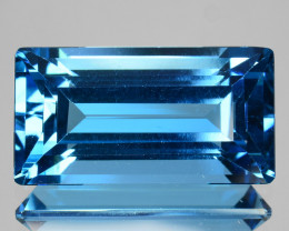 10.54Cts Natural London Blue Topaz Baguette  Cut Brazil