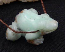 51.5cts chrysoprase carved frog pendant bead,natural gemstone,carved frog p