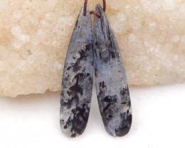 42cts blue kyanite earrings ,natural kyanite earrings ,healing stone D1203