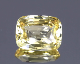 Sparkling UnHeated Vivid Yellow Sapphire - Cushion 10.62ct - Clean Gem- Cer