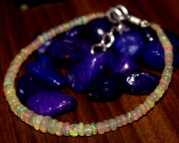 20 Crts Natural Ethiopian Welo Opal Beads Bracelet 40
