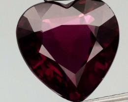 5.12 ct  VS Heart Natural Purplish Pink Rhodolite Garnet, Madagascar