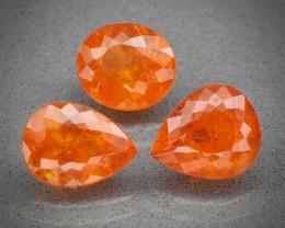 5.68ct tw Orange Spessartite Garnet - 3pcs Lot / Namibia 7.5 x 6.5 to 8.2 x