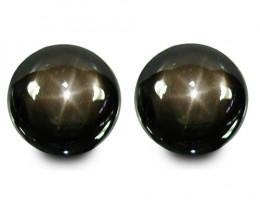 5.60Cts Beautifully  Nice 6Rays Black Star Sapphire Round Matching Pair VID