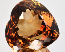 33.39Cts Natural Imperial Brown Champagne Topaz Heart Faceted Russia Gem