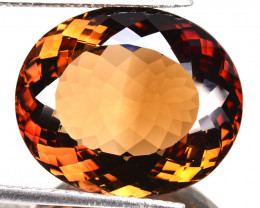 30.27 Cts Natural Imperial Brown Champagne Topaz Oval Faceted Russia Gem