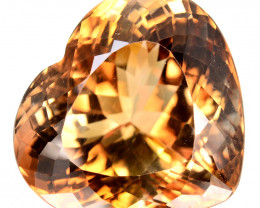 23.22 Cts Natural Imperial Brown Champagne Topaz Heart Faceted Russia Gem