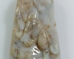 Natural Grade A Jadeite Jade Tiger Carving Pendant