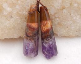 45.5cts amethyst gemstone earrings pair,natural crystal gemstone D1220