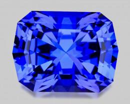 Flawless high gem quality precision-cut natural blue tanzanite.