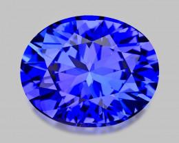Flawless, high gem custom precision-cut vivid blue tanzanite.