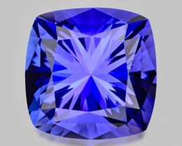 Flawless, high gem custom precision cushion-cut tanzanite.