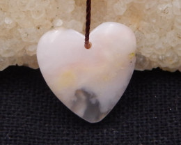 6.5cts pink opal pendant, natural gemstones, pink opal heart-shaped pendant