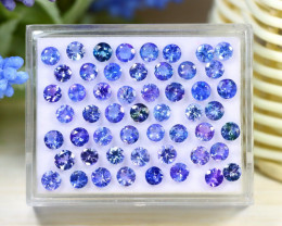 13.96Ct Round Cut Natural Purplish Blue Tanzanite Lot Box C2128