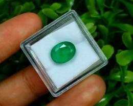 4.04Ct Oval Cut Natural Zambian Green Color Emerald Box A2225