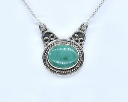TURQUOISE NECKLACE NATURAL GEM 925 STERLING SILVER AN1