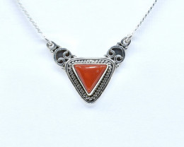CORAL NECKLACE NATURAL GEM 925 STERLING SILVER AN2