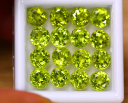 11.76ct Natural Green Peridot 5.5mm Round Cut Lot V8878