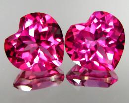 4.52Ct Genuine Amazing Natural Pink Topaz 8mm Heart Shape Matching Pair