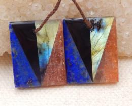 30Cts Natural Lapis Lazuli,Obsidian,Sun Stone,Labradorite Intarsia Earrings