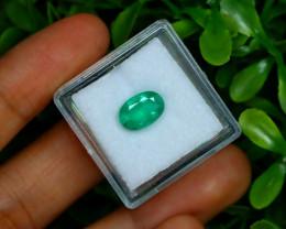1.70Ct Oval Cut Natural Zambian Green Color Emerald Box B2217
