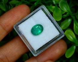 2.01Ct Oval Cut Natural Zambian Green Color Emerald Box B2226