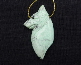66cts hand carved wolf pendant green turquoise wolf ,wolf head pendant D125