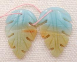 18.5cts natural amazonite earrings pair,carved leaves earrings D1265