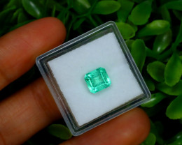 1.38Ct Colombian Muzo Emerald Neon Mint Green Beryl B2405