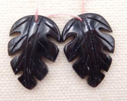 20.5cts natural obsidian earrings pair,carved leaves earrings D1266