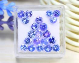 6.61Ct Round Cut Natural Purplish Blue Tanzanite Lot Box C2509