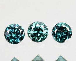 0.07 Cts Natural Electric Blue Diamond 1.8mm Round 3Pcs Africa