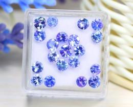 5.06Ct Round Cut Natural Purplish Blue Tanzanite Lot Box C2533