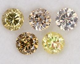 Fancy Multicolor Loose Natural Diamonds 0.43ct/5pcs 2.7mm Round Set