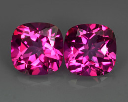 5.31Cts Genuine Amazing Natural Pink Topaz 8mm Cushion Shape Matching Pair