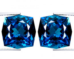 5.05Cts Sparkling Natural London Blue Topaz Cushion Custom Cut Matching Pai
