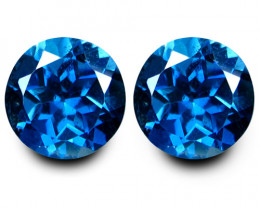 4.70Cts Sparkling Natural London Blue Topaz Round 8mm Matching Pair VIDEO C