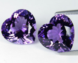 15.30Cts Unique Ultra Quality Natural Amethyst Heart  Shape Matching Pair V