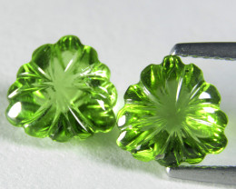 4.72Cts Genuine Excellent Natural Peridot 8.5mm Trillion Carving Matching P