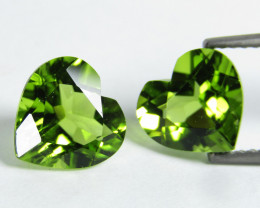 3.65Cts Genuine Excellent Natural Peridot 7mm Heart Shape Matching Pair REF