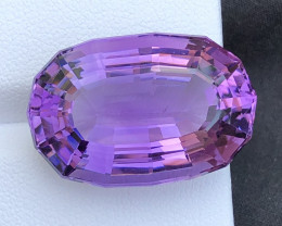 33.75 carats natural amethyst step oval cut gemstone