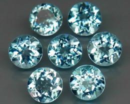 7.12 ct. 6 mm Natural Top Quality Swiss Blue Topaz Brazil - 7  Piece