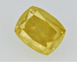 0.20 cts  , Yellow Diamond  , Cushion Brilliant Cut