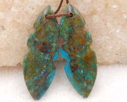 D1327 - 30cts High Quality Earrings ,Gemstone Earrings ,Natural Chrysocolla