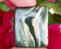 80.195 CT JASPER ZEBRA GREEN PATTEN 100% NATURAL UNHEATED